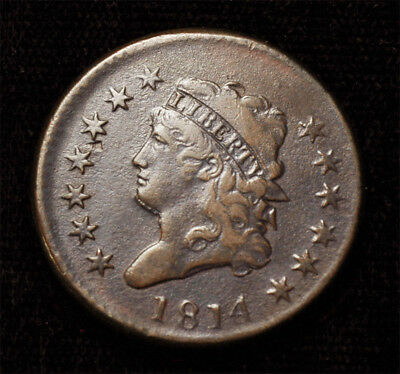 """1814 Classic head Large cent plain 4 """"Bearded"""" variety with Errors Free S&H"""