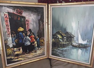 Kowloon Pr of Vintage SIGNED Oil Paintings Framed in 1965 Marshall Field Chicago