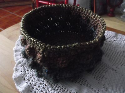 BOWL STYLE BASKET New Hand Crocheted Bobble Stitch Rustic Ombre FALL COLORS yarn