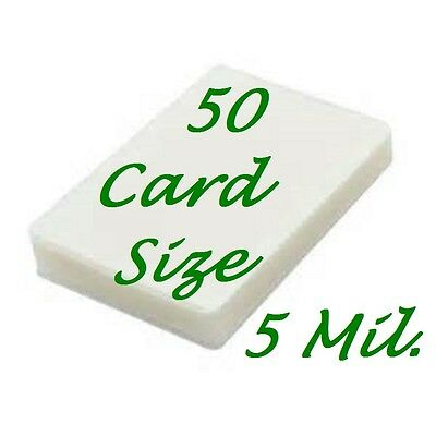 50-pc Card Size Laminating Laminator Pouches Sheets 2-3/8 x 3-5/8  5 Mil