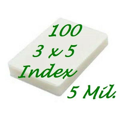 3 x 5 100 Laminating Laminator Pouches Sheets 5 Mil  3-1/2 x 5-1/2  Free Carrier