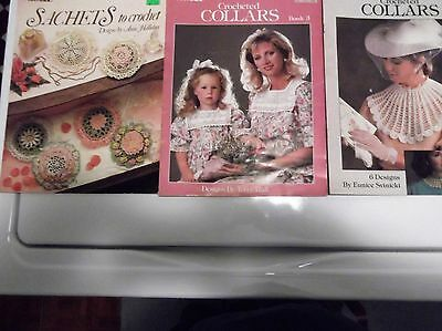 Lot of 3 Vintage 80's Collars and sachet Crochet Pattern Leaflet style Books
