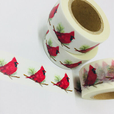 Washi Tape Wide Red Cardinal Christmas 20Mm X 10Mtrs Craft Wrap Planner Scrap