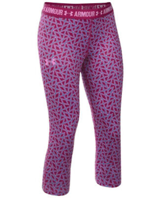 Under Armour Girls Capri Leggings Athletic Pants Heat Gear Dark Pink Size L NWT