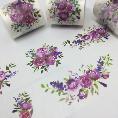 Washi Tape Wide Violet Floral Garland Vers #2 - 40Mm X 5Mt Craft Wrap Plan Scrap