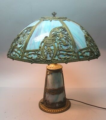 Large Antique ART NOUVEAU MILLER Slag Glass Lamp w/ Lit Base  c. 1910 stained