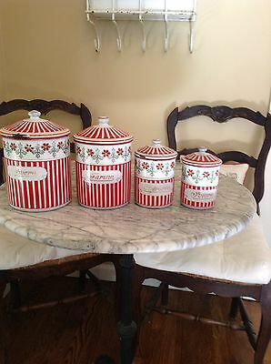 French Enamelware 1920's B&B Red And White With Band Of Flowers Canister Set