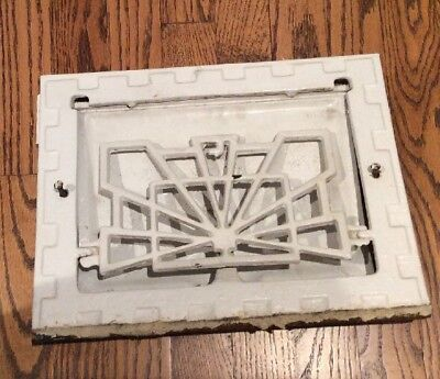 Vintage Cast Iron Floor Register Heat Grate Vent W/ Louvers - Ornate Rectangular