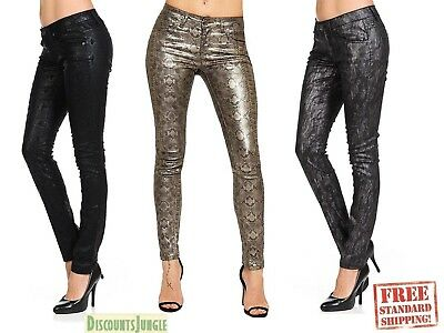 Women's Tonal Premium Fox Leather Look Jeans Snake Snakeskin Fitted Skinny Pants