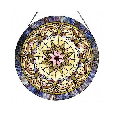 Stained Glass Panel For Windows Tiffany Style Round Victorian 22 In Handmade Art
