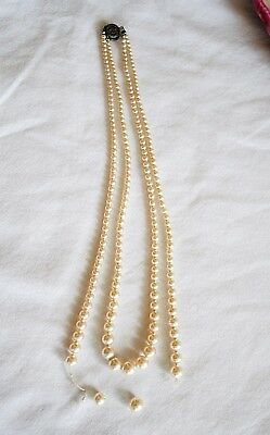 Vintage Double Strand Graduated Faux Pearls Lovely Locking Clasp in Box *flawed*