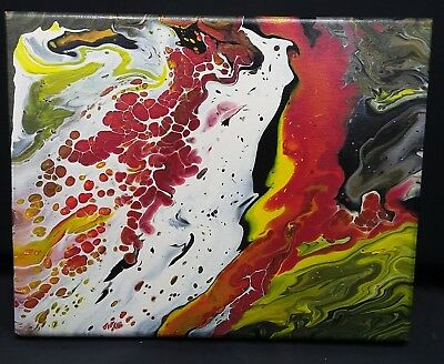 """Original Fluid Acrylic Pour Abstract Painting on 8x10"""" Stretched Canvas"""