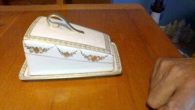 antique Nippon hand painted gold trim cheese dish or butter dish