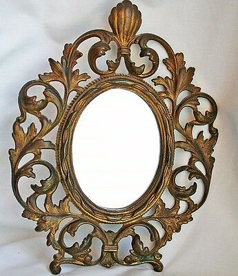 """Antique Vtg Ornate Brass Oval Frame w/ Scrolls Mirror Acanthus Leaves 10¾"""" tall"""