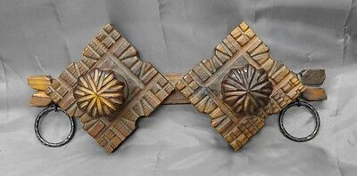 Old vintage hand carved wooden towel hat coat rack gothic style Spanish Spain