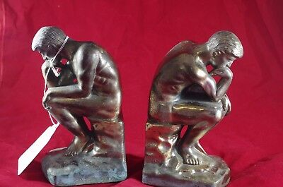 Vintage Antique Collectible Cast Metal Thinking Man Book Ends Heavy Patina 1928