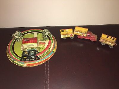 1940-50's Marx Windup Tin Lithograph HONEYMOON EXPRESS TRAIN & Delivery Truck!