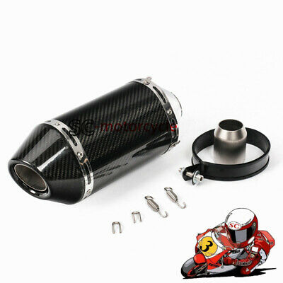 315mm Real Carbon Fiber Motorcycle Exhaust Muffler Pipe Slip On Universal 51mm