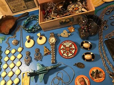 Estate Antique Vintage Junk Drawer Lot Costume Jewelry Toys Earrings Cast Iron