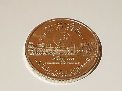 Chicago Cubs First Night Game Wrigley Field Silver .999, 1 oz coin 8 8-88
