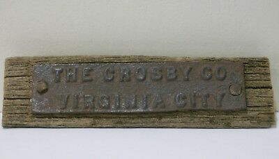 Western Virginia City Nevada Crosby Co Antique Iron Name Plate Storey County