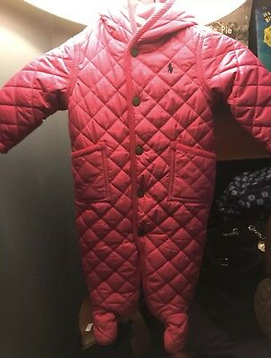 Ralph Lauren Polo Baby Girl Pink SnowSuit Size 0-6m