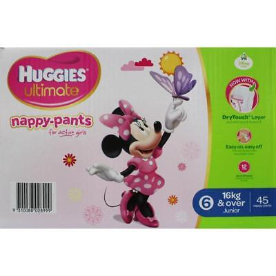HUGGIES PK45 ULTIMATE NAPPY-PANTS JUNIOR FOR GIRLS 16kg & OVER 100% Brand New