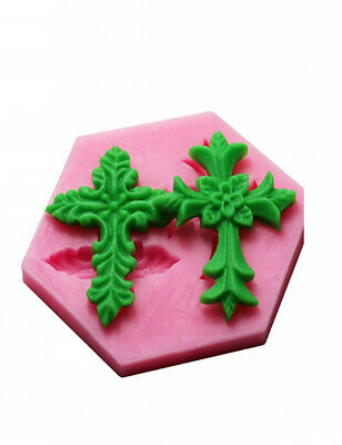 Silicone 3D Cross Shape Fondant Cake Decor DIY Candy Baking Chocolate Soap Mold
