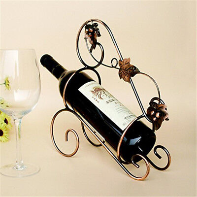European Vintage Style Portable Wine Rack Iron Metal Bottle Iron Holder