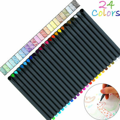 24 Fineliner Colors Pen Set 0.38mm Colored Fine Line Sketch Writing Drawing Pens