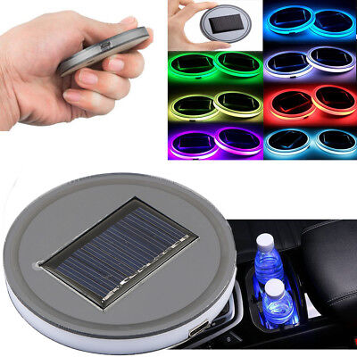 Solar Energy Car SUV Cup Holder Bottom Pad Mat Blue LED Light Cover Trim Lamp