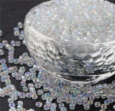 50g RAINBOW AB LUSTRE CLEAR GLASS SEED BEADS 11/0 2mm 8/0 3mm 6/0 4mm