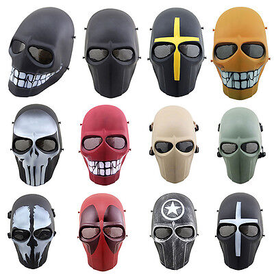 Airsoft Paintball Full Face Protection Skull Mask Outdoor Game Tactical Gear AU