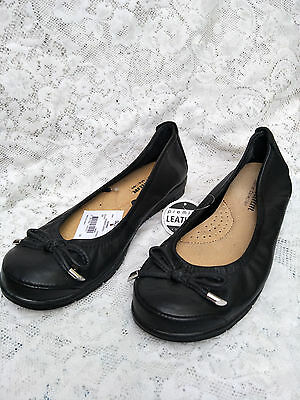 Brand New with Tag Leather black Size 9  low wedges shoes