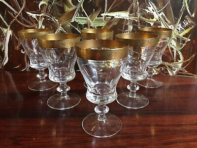 THERESIENTHAL GERMANY, Concord mintonborte, 5 Fine Wine Glasses Etching Gold Rim