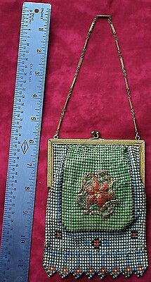 Vintage Whiting And Davis Mesh Enameled Multicolor Lined Purse with Mirror