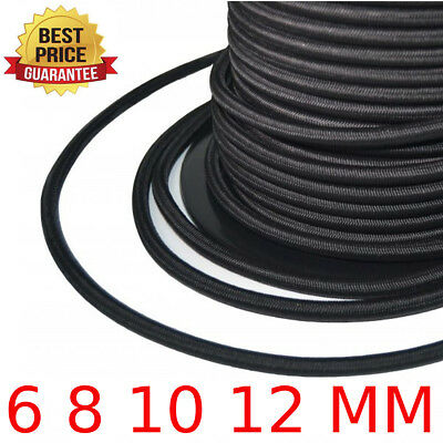 EXTRA STRONG BLACK ELASTIC BUNGEE ROPE SHOCK CORD TIE DOWN 6mm 8mm 10mm 12mm HQ