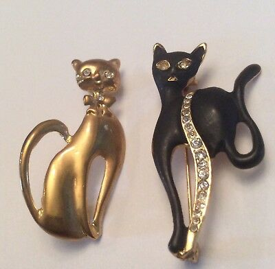 Vintage lot of 2 rhinestone cat brooches one black one Goldtone