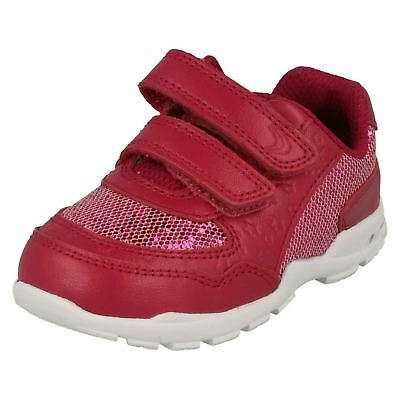 CLARKS Brite Play  Infant Girls Leather Trainers with Flashing Lights in Heel
