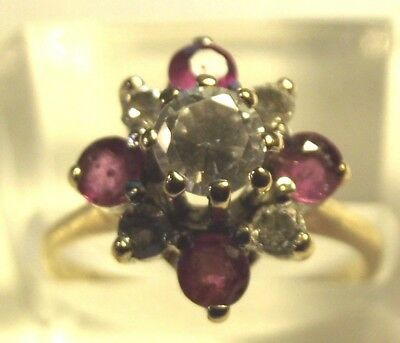Superb 9Ct Gold Ruby And White Sapphire Ring Size L