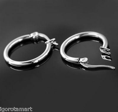 Men Women Silver Hinged Hoop Earring Ear Ring Stud Clicker Earrings 13 17 21mm