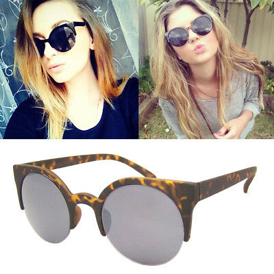 1985bb9a6bd33 LADIES ROUND LENS Vintage Cross Bar Chic Cat Eye Sunglasses 1960 s ...