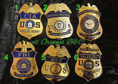 h7/ Historisches badge + choose 1 from 6  CIA, FBI, ATF, DCIS, FAM, IRS  all B&C