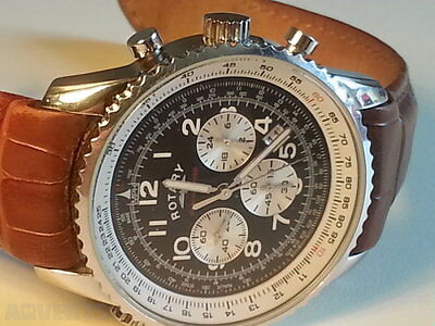 Rotary Men's Chronospeed Chronograph Brown Leather Strap Watch - NEW with box