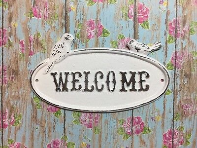 "Decorative Cast Iron Shabby Chic ""Welcome"" With Birds Wall Door Decor White"