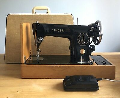 Singer 201K Electric Sewing Machine Heavy Duty Semi-Industrial 1950's PAT tested