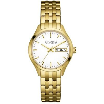Caravelle 44N107 Women's Gold Steel Band With White Analog Dial Watch New In Box