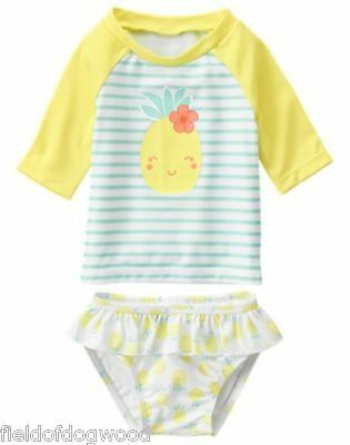 NWT Gymboree SWIM SHOP SEASHORE SMILE Pineapple Rash Guard SET 12-18M Girls