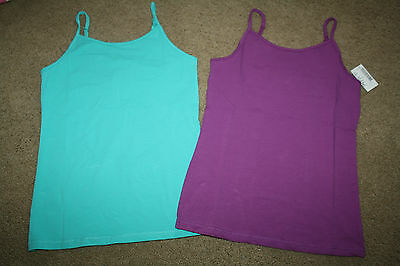 NWT The Children Place Girl 7 8 LOT Camisole Tank Top Shirt w/ Shelf Bra Cami X2