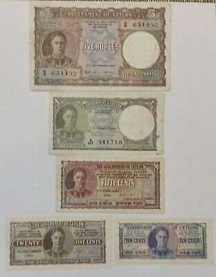 Ceylon 10, 25, 50 cents, 1,5 rupees. Lot of 5 banknotes VF/XF